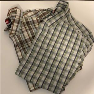 2 Quicksilver short sleeve button downs XL plaid